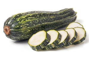 zucchini and sliced isolated on
