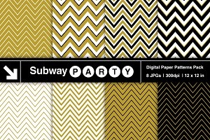 Gold, Black, White Chevron Papers