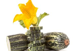 zucchini with leaf and flower