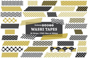 Gold & Black Washi Tape Strips