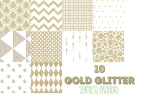 10 gold glitter seamless patterns