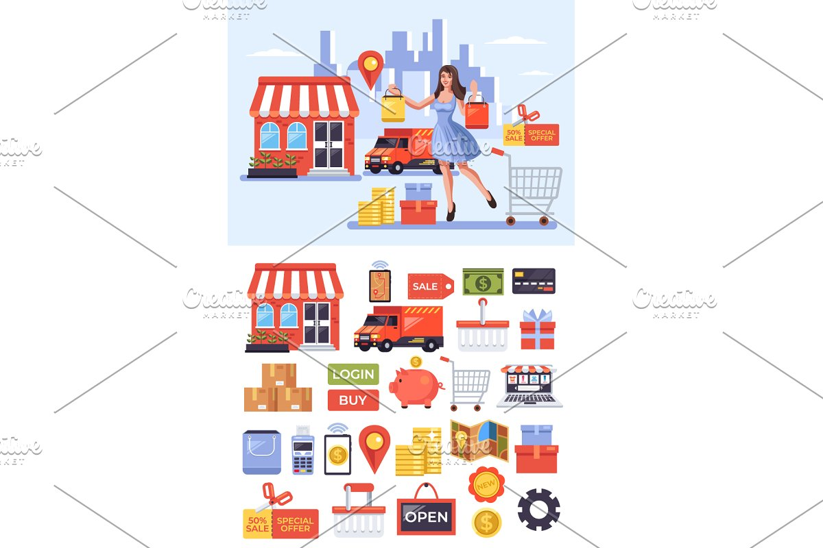 Online digital shopping delivery