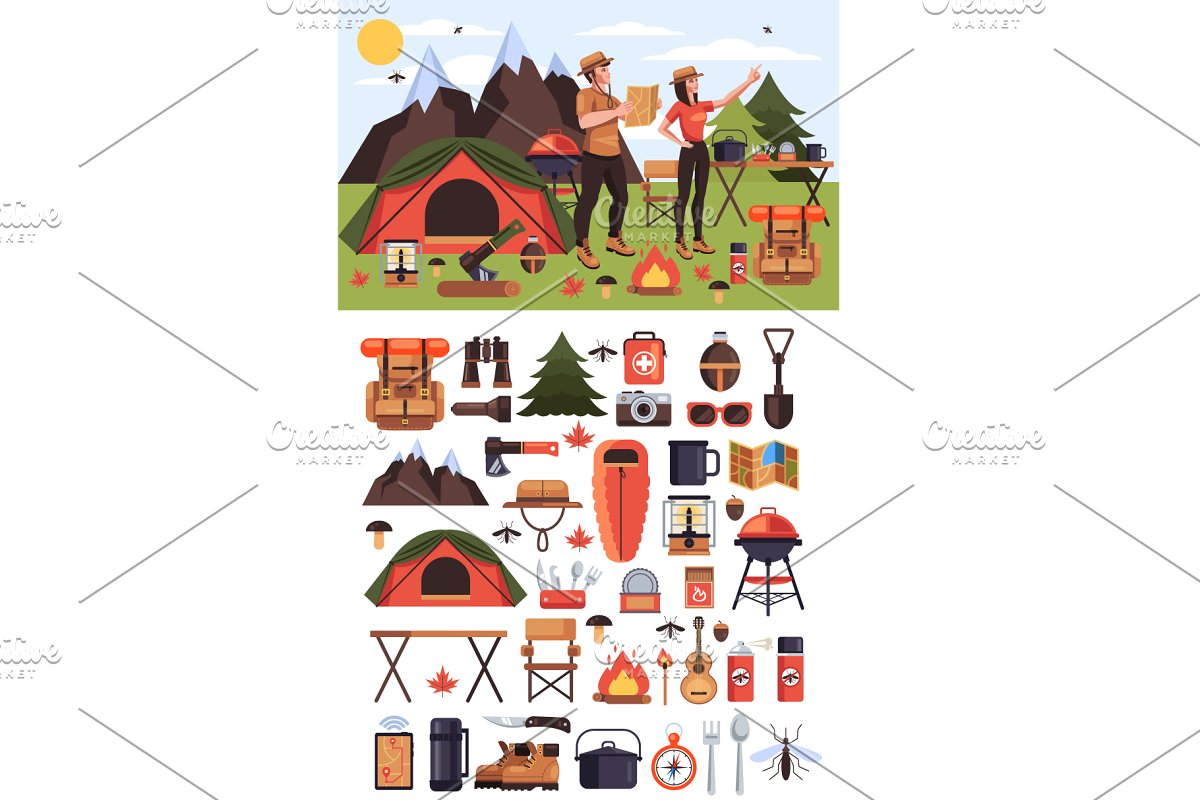 Travel tourism expedition icons