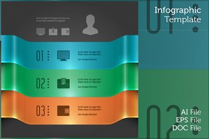 Business Infographic 3D Banner Chart
