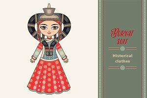 The girl in Buryat dress