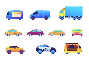 Different cars and delivery vector
