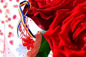 Martisor, Romanian tricolor, roses