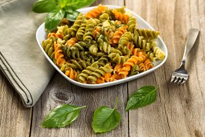 Homemade pesto and pasta