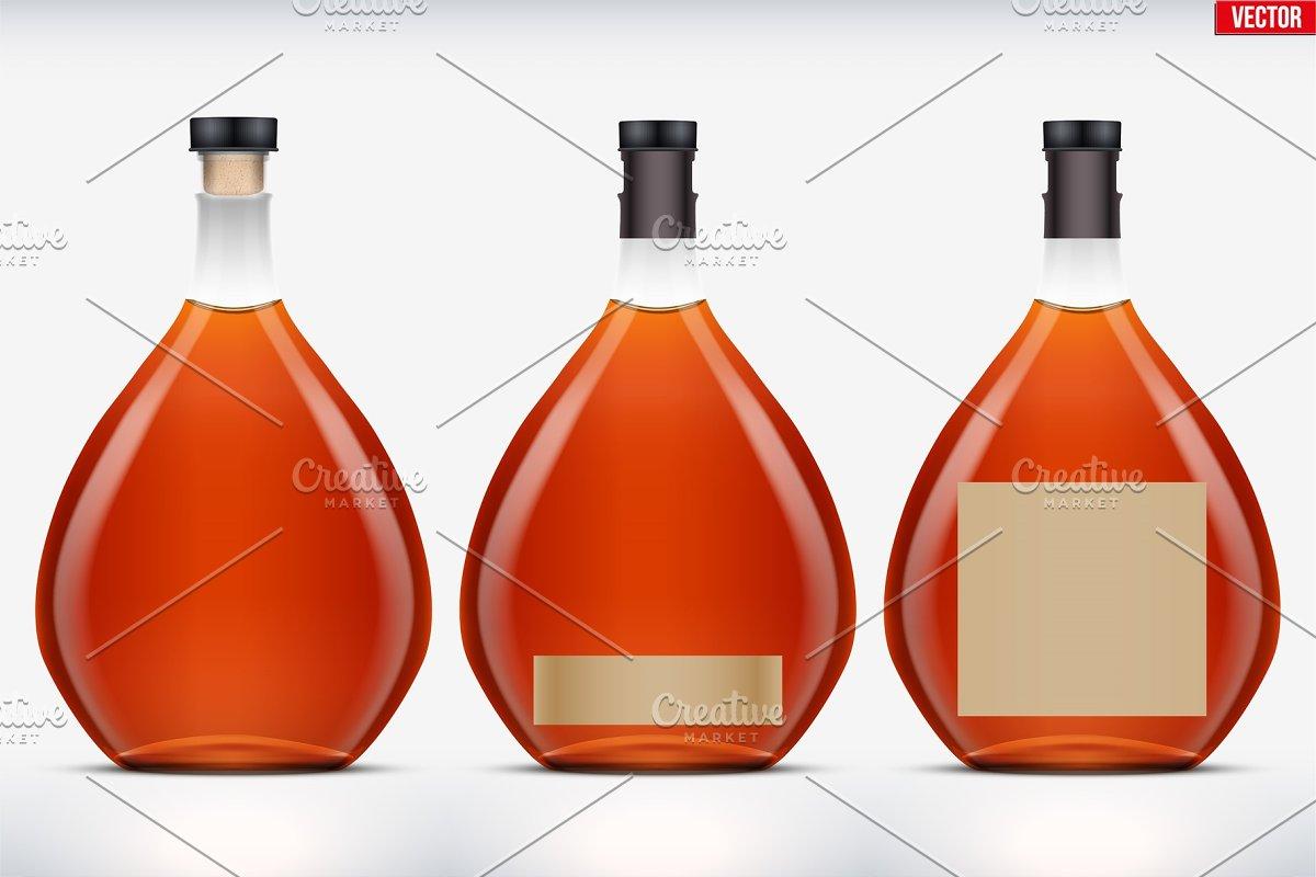 Cognac bottle set mockup