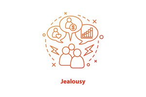 Jealousy concept icon