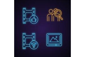 Film industry neon light icons set