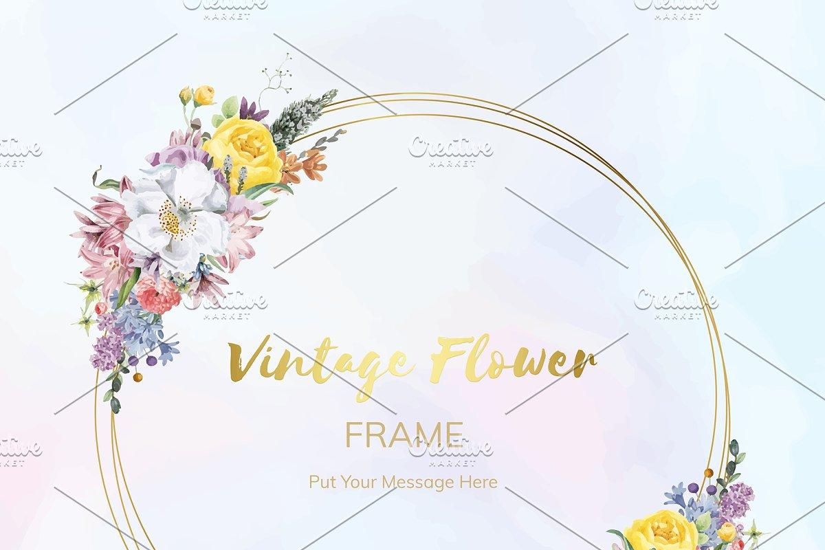 Vintage Floral Wedding Frame Vector Custom Designed