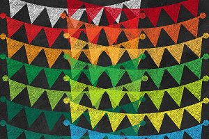 Chalkboard Bunting Banners Clipart