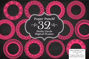 Hot Pink Lace Frames Clipart