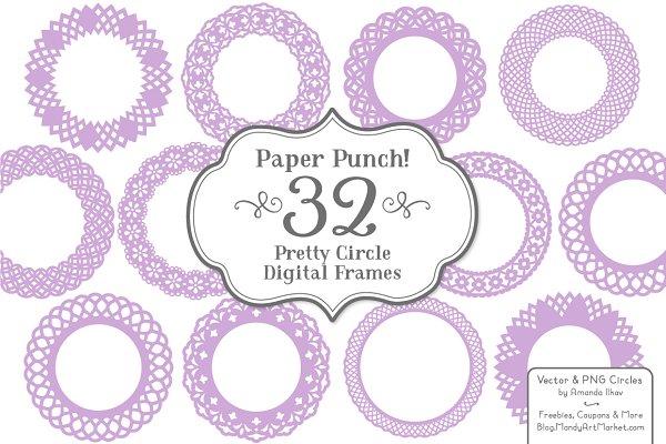 Lavender Lace Vector Frames