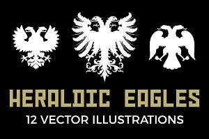 12 Heraldic Eagle Silhouettes
