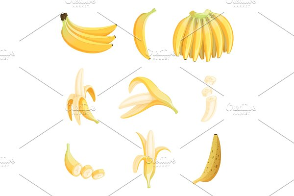 Banana cartoon. Fruits half