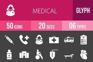 50 Medical Glyph Inverted Icons