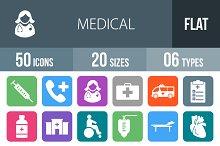 50 Medical Flat Round Corner Icons