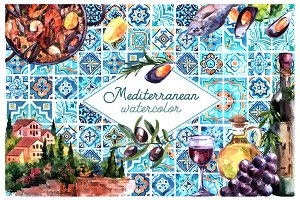 Watercolor mediterranean