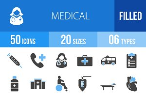 50 Medical Blue & Black Icons