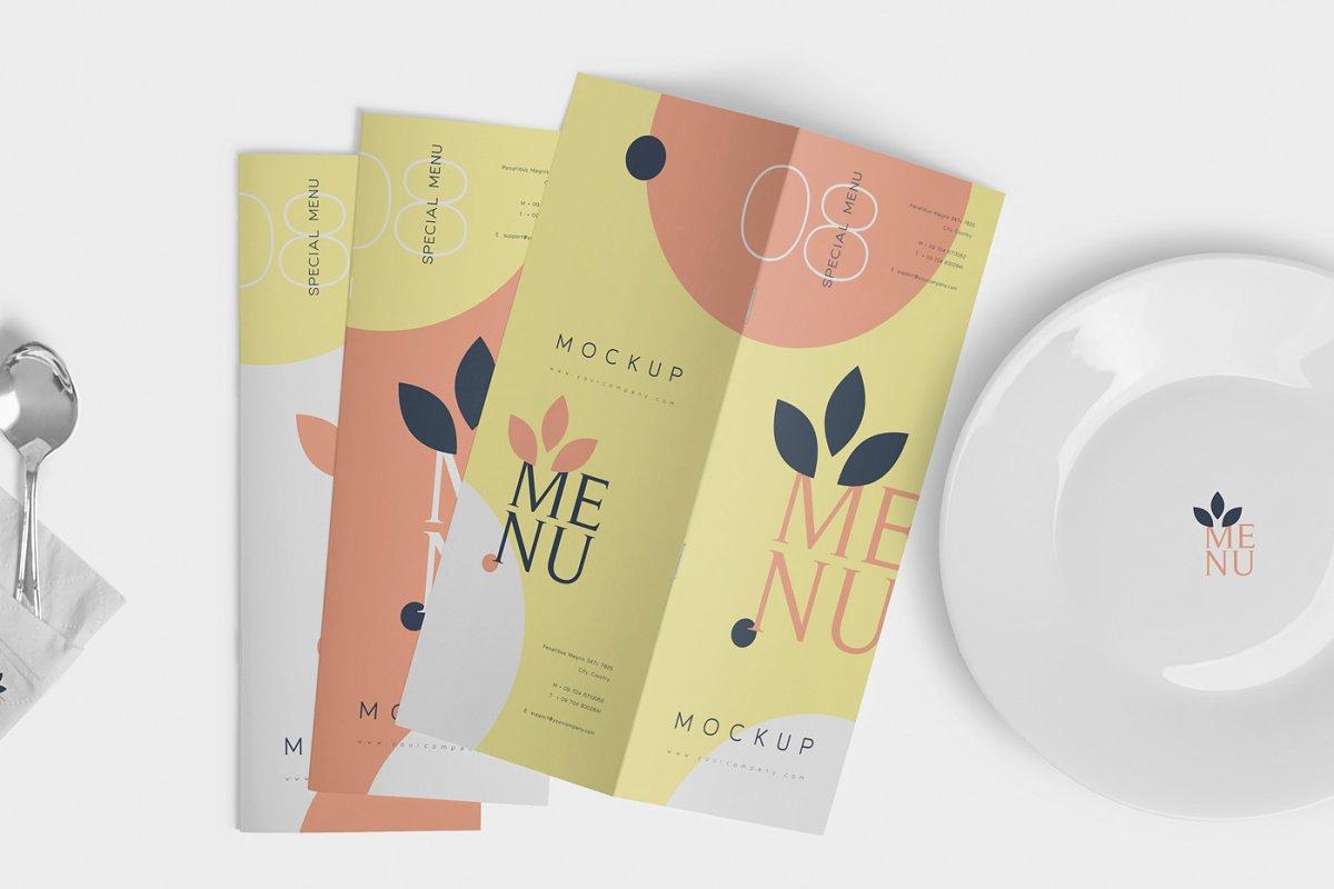 Food Menu Book Mockups in Product Mockups - product preview 3