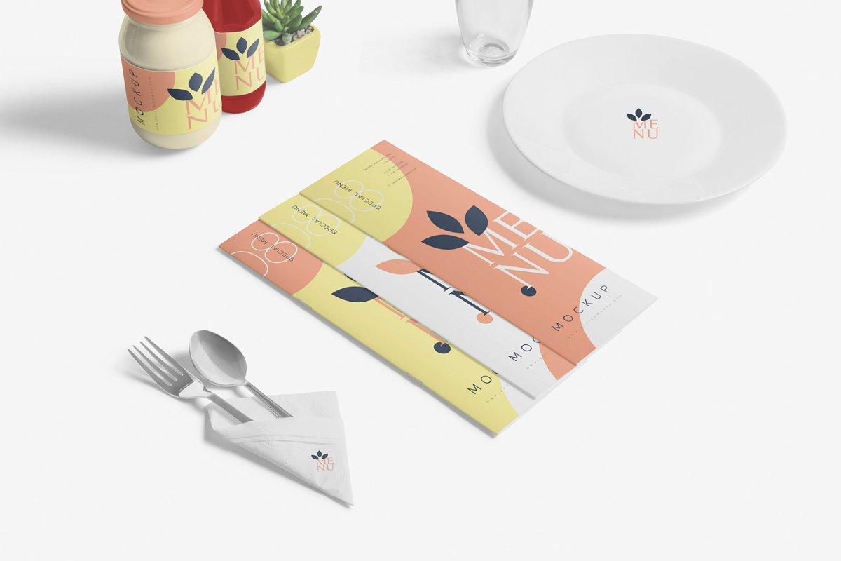 Food Menu Book Mockups in Product Mockups - product preview 5