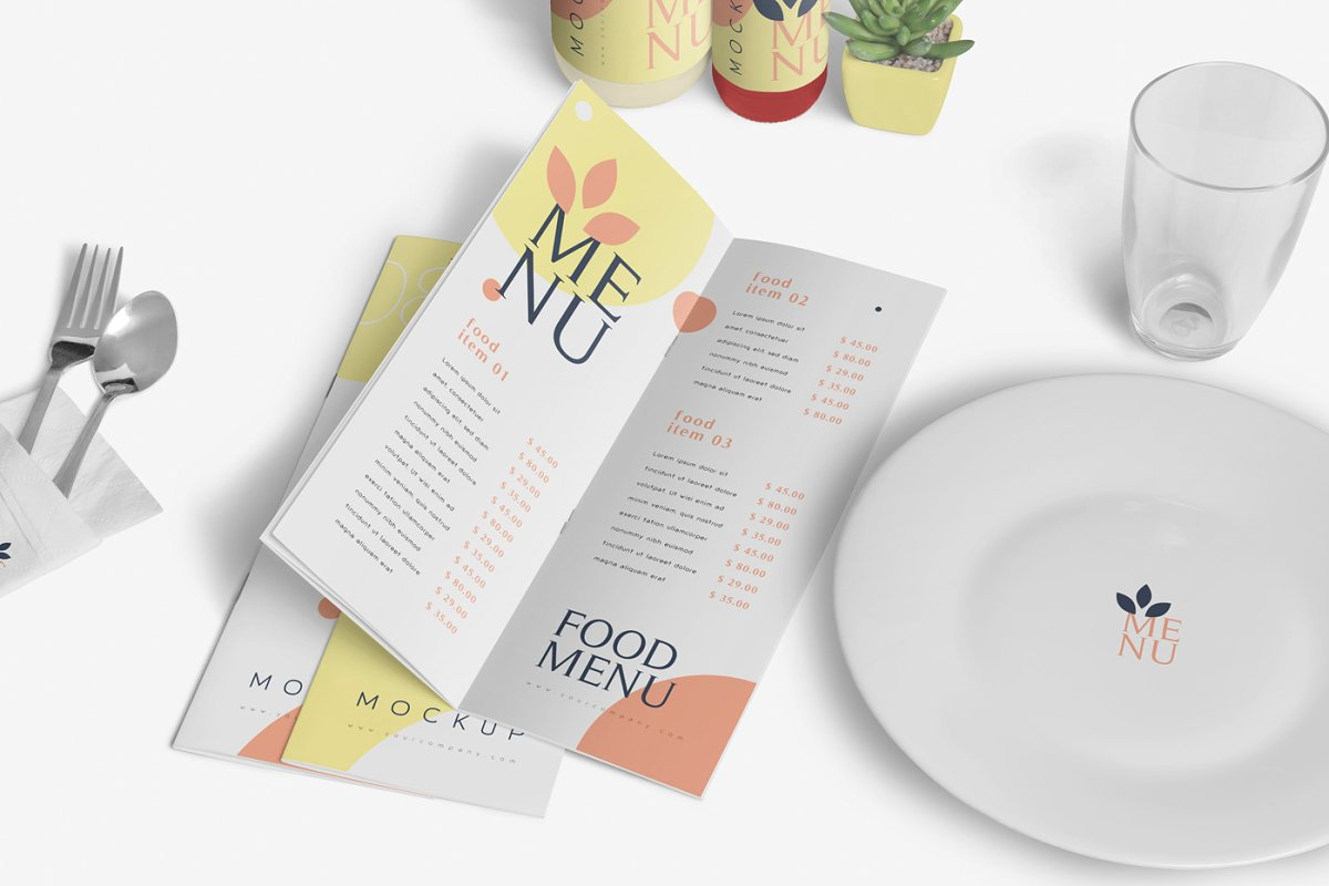 Food Menu Book Mockups in Product Mockups - product preview 6