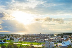 Paphos cityscape in evening sunlight