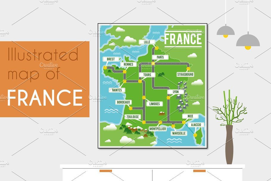 Map Of France Cartoon.Illustrated Map Of France Illustrations Creative Market
