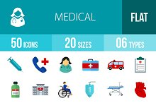 50 Medical Flat Multicolor Icons