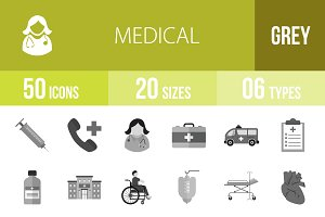 50 Medical Greyscale Icons
