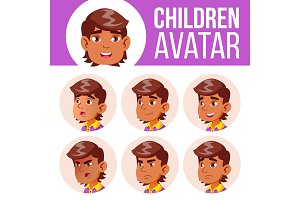 Arab, Muslim Avatar Set Kid Vector