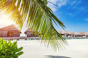 Tropical resort on Maldives Island.