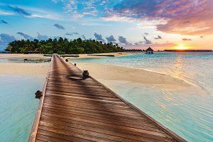 Wooden jetty on a blue sea