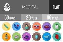 50 Medical Flat Shadowed Icons