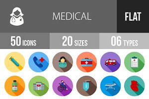 50 Medical Flat Shadowed Icons