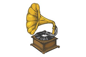 Old fashioned gramophone sketch