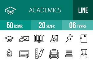 50 Academics Line Icons