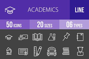 50 Academics Line Inverted Icons
