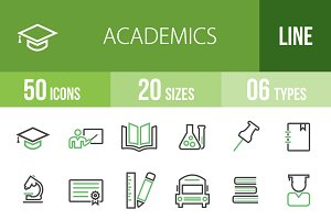 50 Academics Green & Black Icons