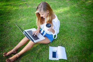 Student girl with laptop