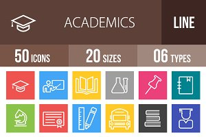 50 Academics Line Multicolor Icons