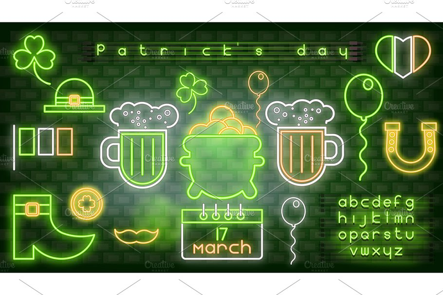 Neon Icons for Patrick's Day