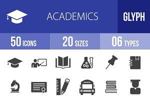 50 Academics Glyph Icons