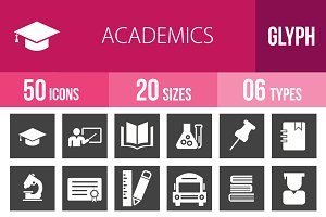 50 Academics Glyph Inverted Icons