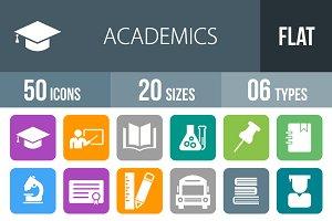 50 Academics Flat Round Corner Icons