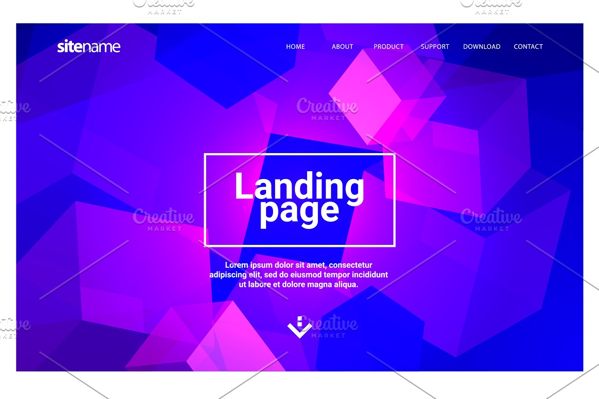 Landing page design with geometric