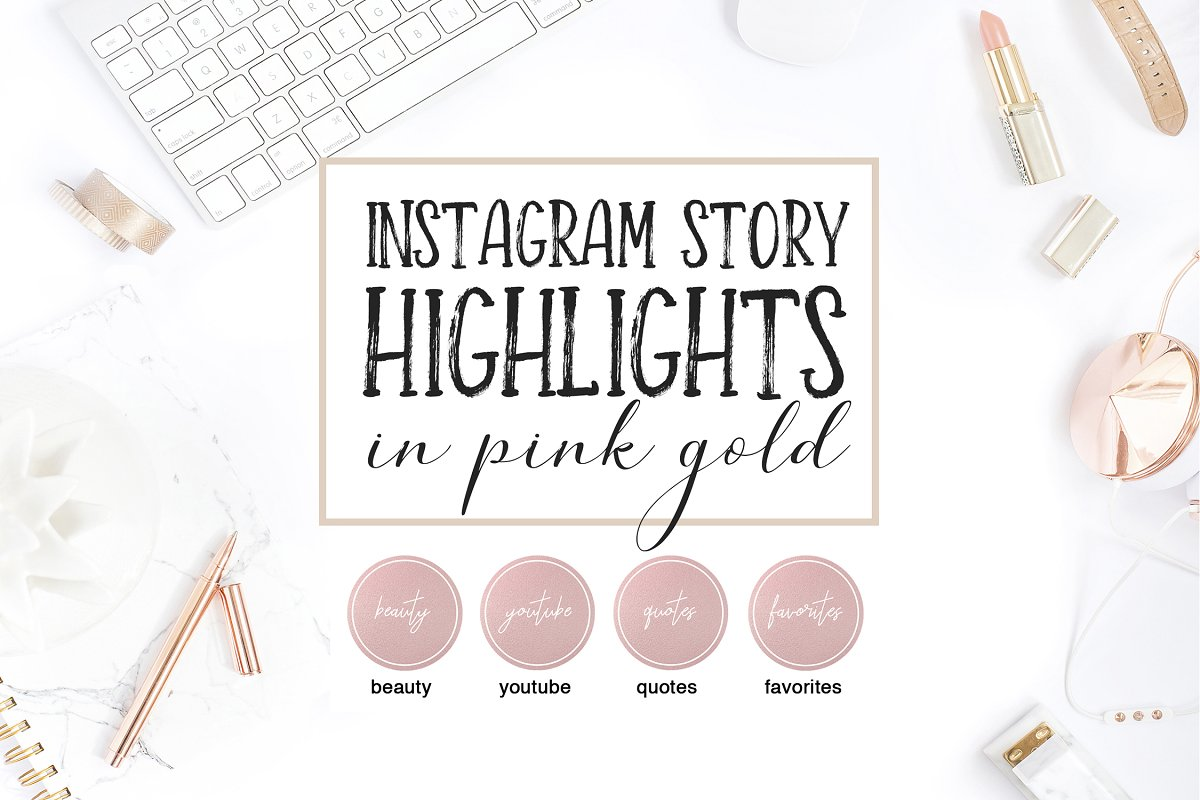 Instagram Highlight Covers Pink Gold