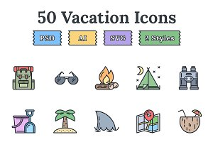 Hotel & Vacation flat landing icons
